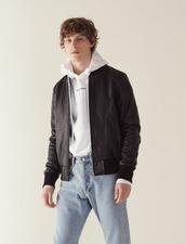 Zipped Leather Jacket : Blazers & Jackets color Black