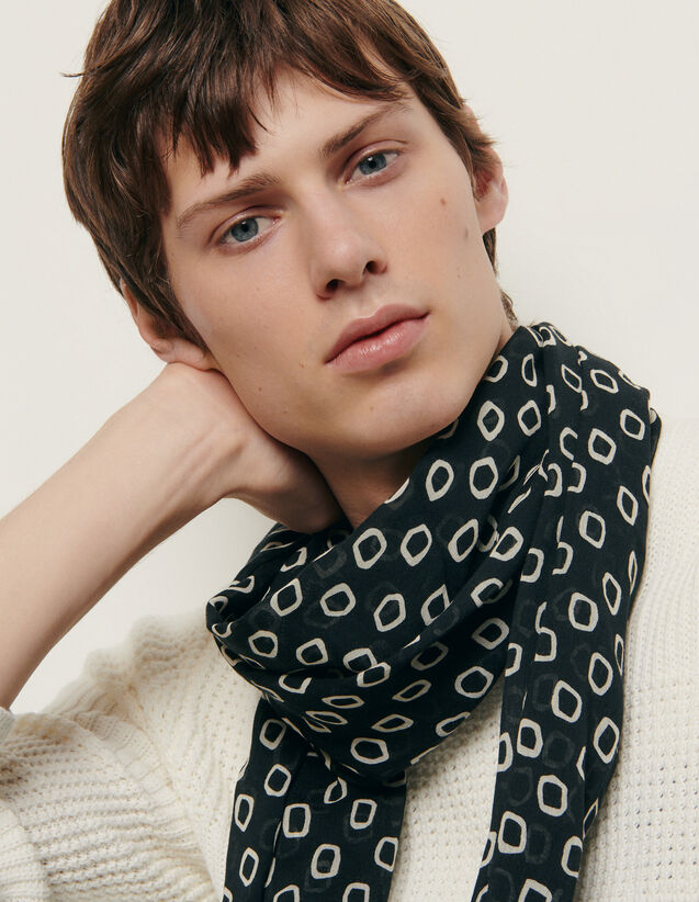 Printed scarf : Scarves color Black/Ecru
