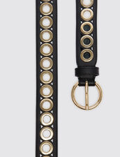Belt with round buckle and eyelets : All Winter collection color Black