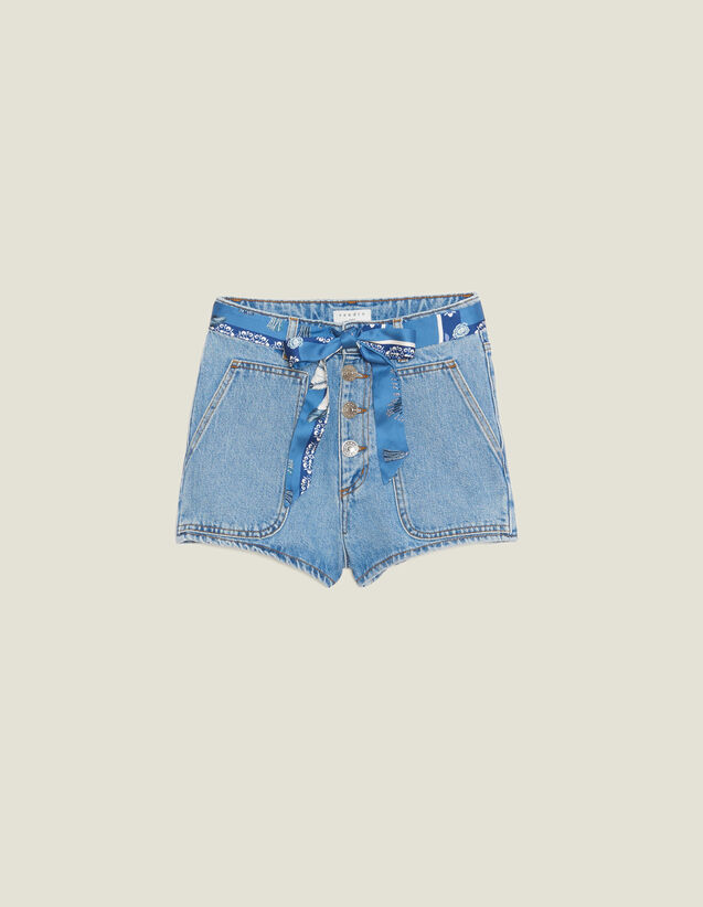 Denim Shorts With Scarf Belt : Skirts & Shorts color Blue Vintage - Denim