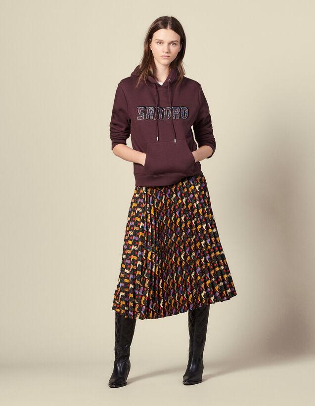 Printed pleated wraparound skirt : FBlackFriday-FR-FSelection-30 color Black