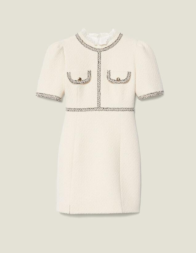 Tweed dress with braid trim : Dresses color Ecru