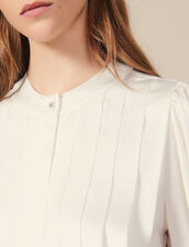 Blouse with knife pleats : LastChance-ES-F40 color Ecru