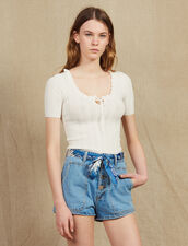 Openwork Knit Short-Sleeved Top : null color white