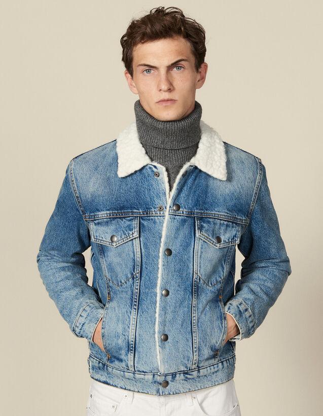 Denim jacket, faux sheepskin lining : Blazers & Jackets color Blue Vintage - Denim