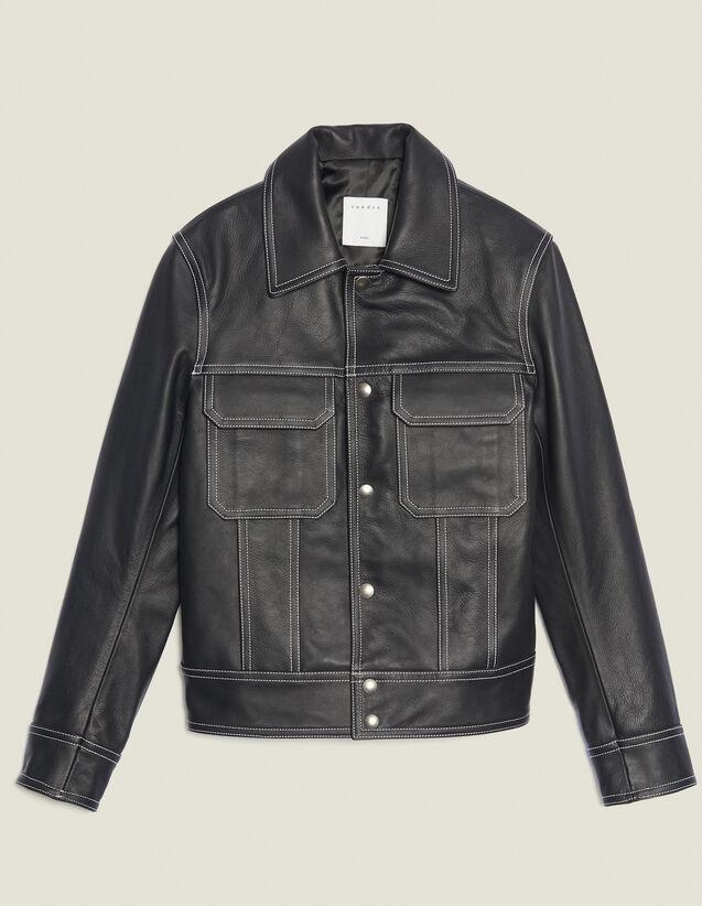 Topstitched Leather Jacket : SOLDES-CH-HSelection-PAP&ACCESS-2DEM color Black