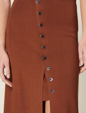 Knit Skirt With Slit : null color Brown