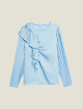 Top with long pleated sleeves : Tops & Shirts color Blue sky