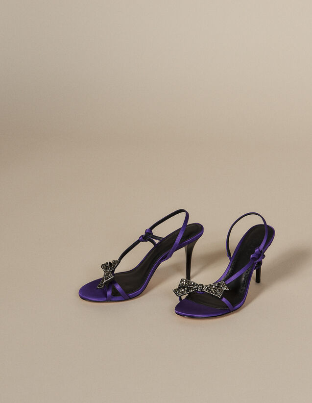 Satin Sandals With Rhinestone Bow : All Shoes color Purple