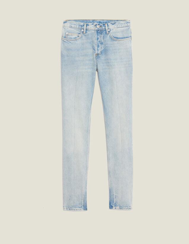 Light Washed Jeans - Narrow Cut : LastChance-RE-HSelection-Pap&Access color Blue Vintage - Denim