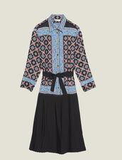 Long Printed Shirt Dress : Dresses color Blue