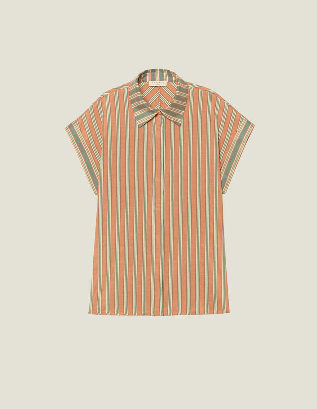 Striped Sleeveless Shirt : Printed shirt color Green