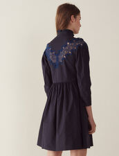 Short Dress With Lace Inset : Dresses color Navy Blue