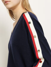 Wool and cashmere sweater : Sweaters & Cardigans color Navy Blue