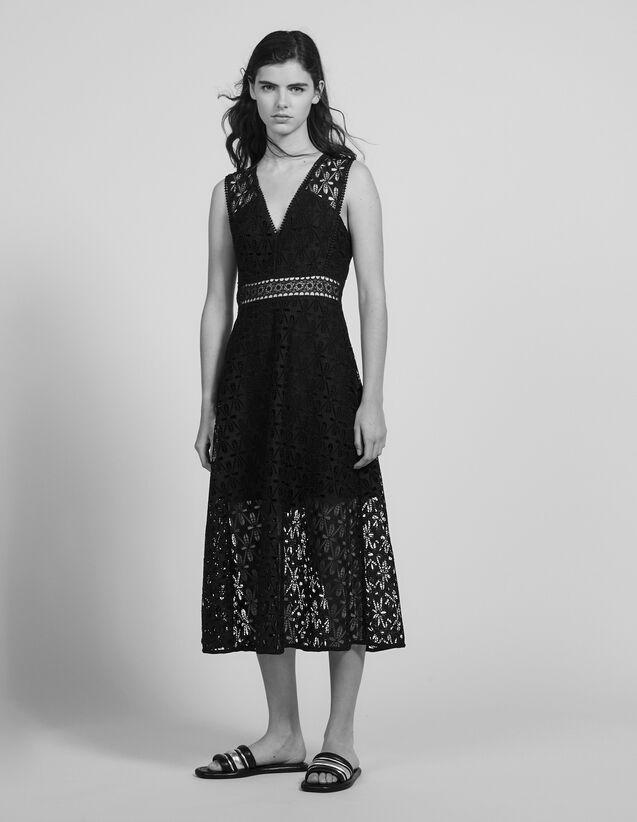 English Guipure Lace Midi Dress : Dresses color Black