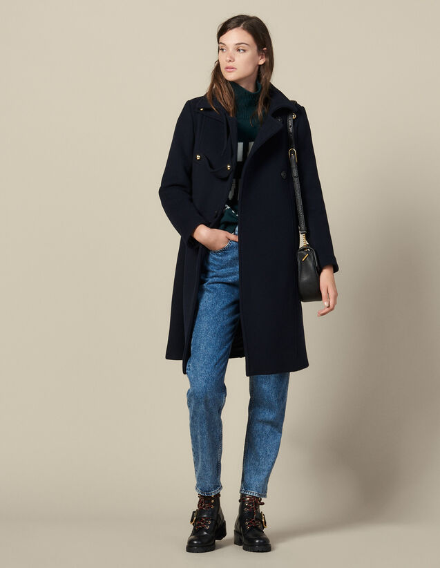 Military wool blend coat : Copy of VP-FR-FSelection-PAP&ACCESS color Navy Blue