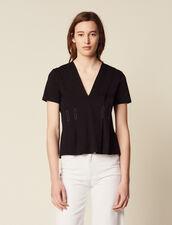 Topstitched V-Neck T-Shirt : LastChance-FR-FSelection color Black