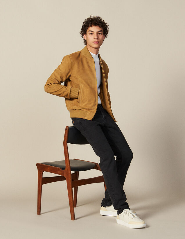 Suede Zipped Jacket : Blazers & Jackets color Beige