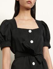 Short linen blend dress  tie fastening : Dresses color Black