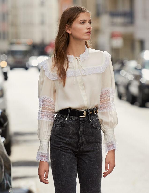 Lace embellished blouse : Copy of VP-FR-FSelection-Tops&Chemises color Ecru
