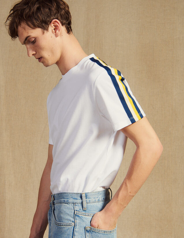 T-Shirt With Striped Braid Trim : T-shirts & Polo shirts color white