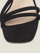 Low-Heeled Leather Sandals : null color Black