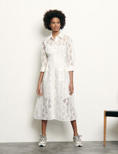 Long shirt dress in broderie anglaise : Dresses color white