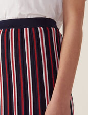 Long Knit Skirt With Pleats : null color Navy Blue