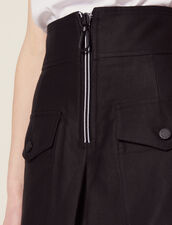 High-Waisted Skirt With Contrasting Zip : null color Black