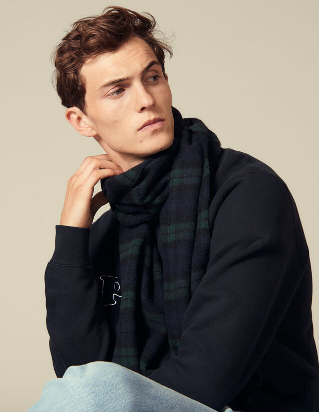 Checked Wool Scarf : Scarves color Dark green