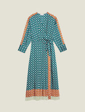 Patchwork Printed Long Dress : null color Green