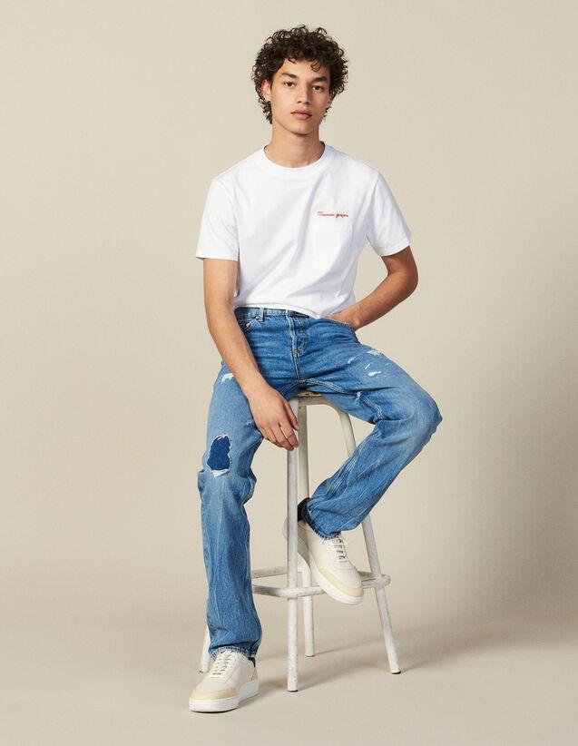 Destroyed Cotton Slim-Fit Jeans : All Winter collection color Blue Vintage - Denim