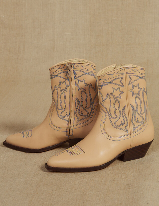 Embroidered Leather Cowboy Boots : FAnciennesCollections color Sand