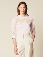 Top With Lace Insert : null color Pink