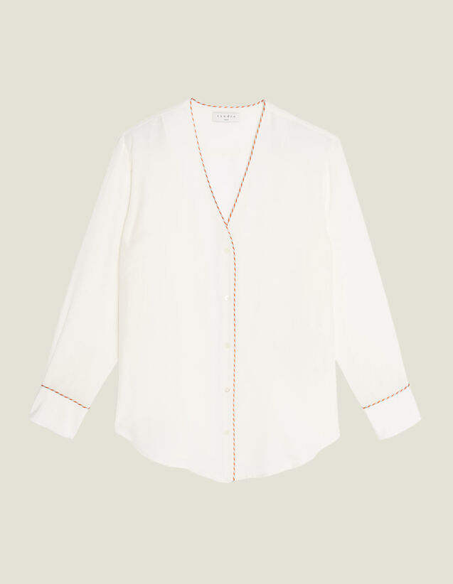 Low-Cut Silk Shirt : null color Ecru