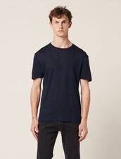 Linen T-shirt : T-shirts & Polo shirts color Navy Blue