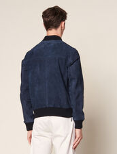 Suede Zipped Jacket : Blazers & Jackets color Navy Blue