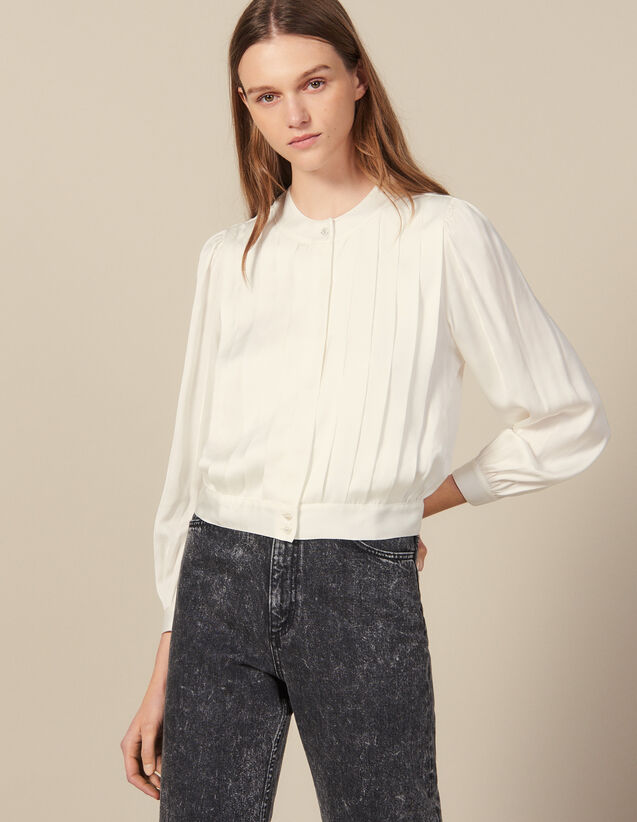 Blouse With Knife Pleats : New In color Ecru
