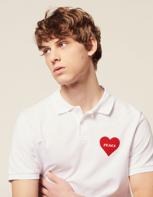 6238040894b7eb Cotton Piqué Polo Shirt, Flocked Heart : T-shirts & Polo shirts color white