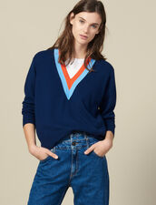 Knitted sweater with wide two-tone trim : LastChance-ES-F20 color Navy Blue