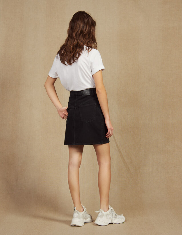 Short Denim Skirt : null color Black