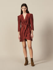 Short Wraparound Dress : LastChance-ES-F50 color Wine
