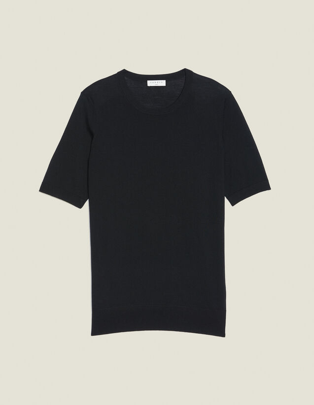 Short-Sleeved Merino Wool Sweater : Sélection Last Chance color Black