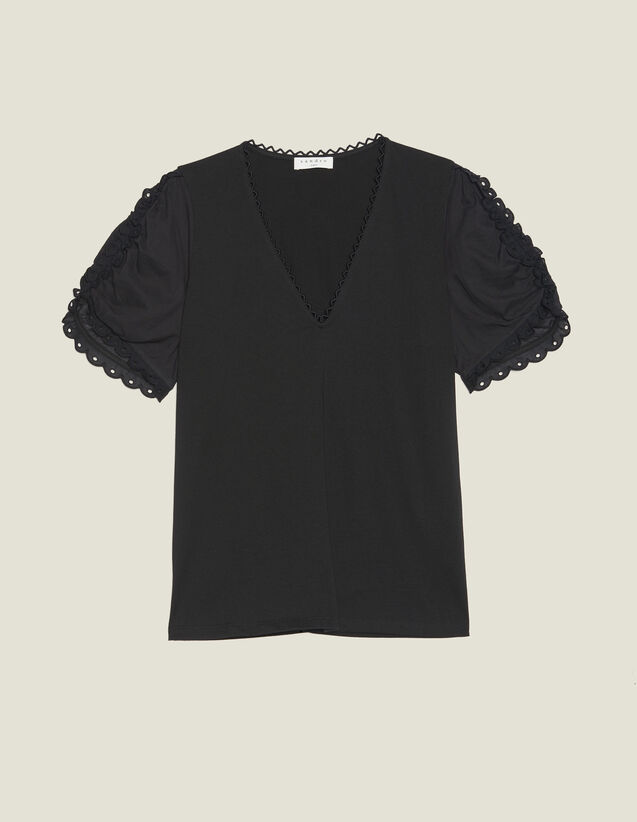 T-Shirt With Short Puff Sleeves : T-shirts color Black