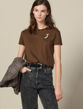 T-Shirt With Embroidered Boots Patch : LastChance-ES-F50 color Olive Green
