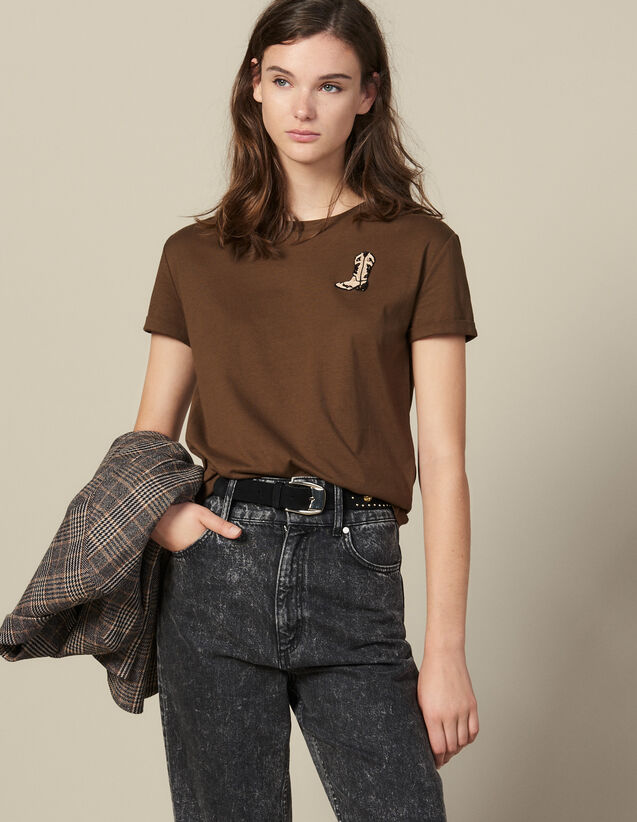 T-Shirt With Embroidered Boots Patch : T-shirts color Olive Green