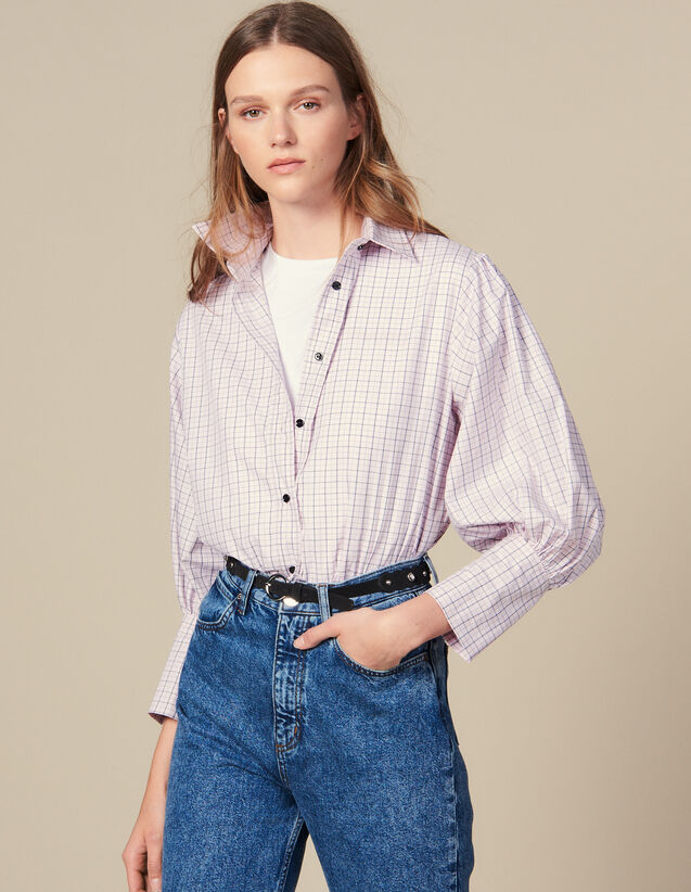 Mini Check Poplin Shirt : Tops & Shirts color Pink