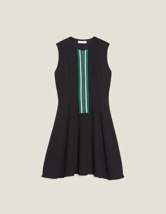 Short Sleeveless Dress With Zip : null color Black