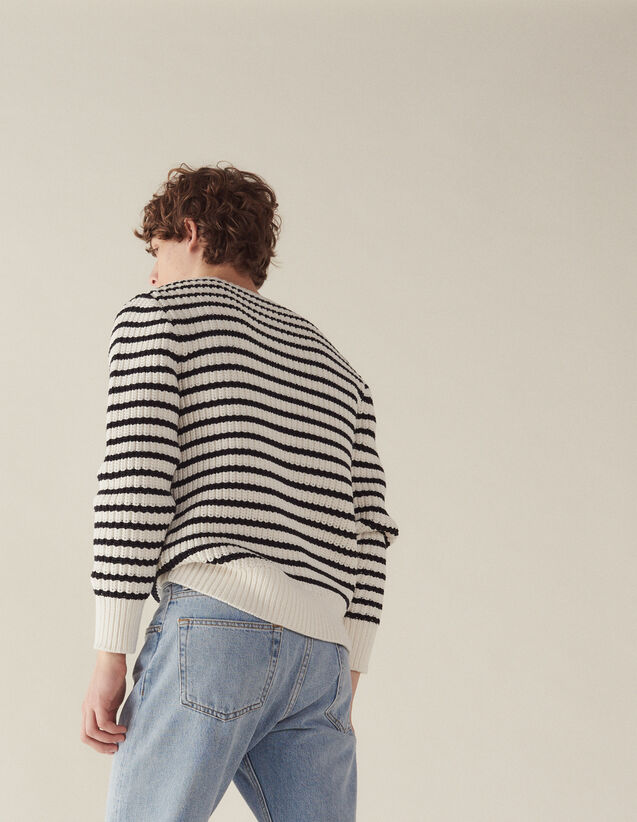 Breton Sweater With Fancy Rib : Sélection Last Chance color Ecru
