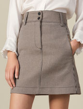 Short A-Line Skirt In Houndstooth : Copy of VP-FR-FSelection-Jupes&Shorts color Camel
